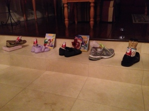 The shoes, lined up in the front hall...