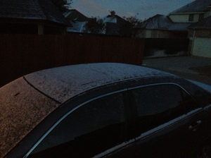 Snow this morning in Texas!  Just a dusting but who cares!