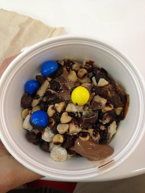 I think the M&M's are a nice touch to this ice cream sundae.