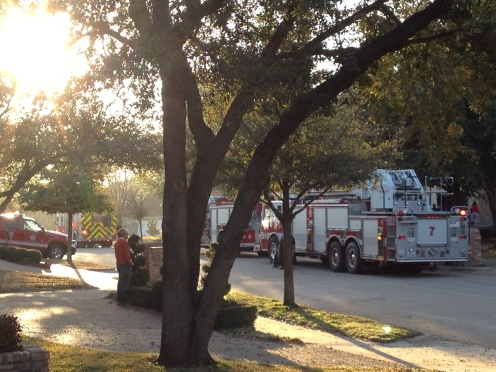 House across the street. 8:30AM. Seems their fishtank caught on fire. I couldn't stop laughing at that one.