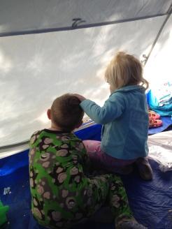 My kittens having fun in the tent.