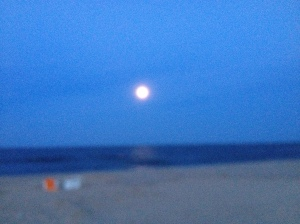 Blurry, but you get the idea.  We were on the beach last night for the Super Moon!