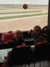 Satellite terminal at DFW. The kids enjoy a light lunch before a long delay.