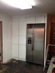 And the cabinet doors are finally back up!