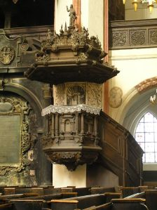 Pulpit from the church of St. Mary, Torun, Poland.  (Courtesy: Wikimedia Commons)