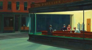 "Edward Hopper's iconic ""Nighthawks"".  Courtesy: Wikimedia Commons"