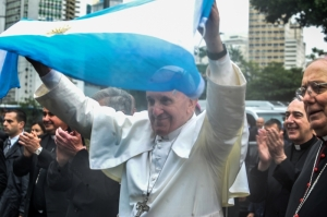 Pope Francis with an Argentine flag!