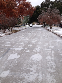 "View of our street after the ""Great Ice of 2013"""