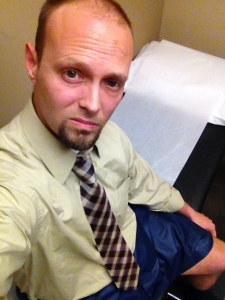 Why does every doctor want me to take my pants off?!  At least this one gave me these stylish blue paper shorts to wear.