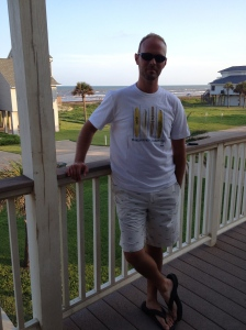 Modeling for my wife.  The shorts have a fishbone pattern on them.  Fancy, huh?