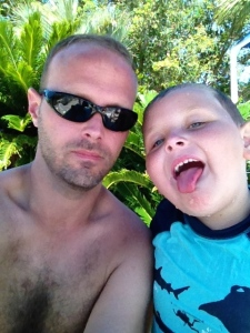 Me and the little big guy at the pool.