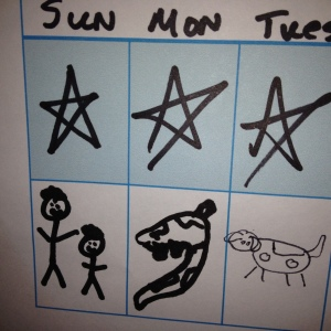So he got stars in the morning (when Mommy filled in the chart).  At night, when the man of the house took over he got a picture of the two of us, some kind of Mesozoic sea creature, and our Jack Russell Terrier.