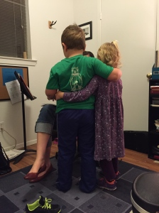 My crazy kittens found time to gang up, I mean embrace at the end of the violin lesson.