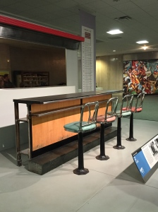 This is a portion of the lunch counter from the Greensboro, NC Woolworth where seeds of the civil rights movement were planted.  We are fortunate to have been to that Woolworths as well.